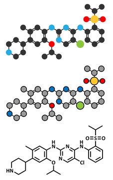 Ceritinib cancer drug molecule.