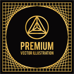 premium geometric design in golden color and black backdrop