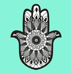 Decorated Hamsa hand vector on light blue background, mano Hamsa decorata su sfondo azzurro vettoriale