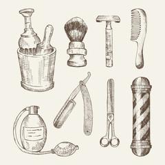 Retro illustrations of barber shop elements.