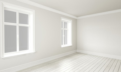 3d rendering of Empty Room Interior White Grey Colors
