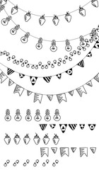 Hand drawn borders,garland brushes on chalk board.Doodle pattern textures,lamps, lanterns,flags, ornament.Decoration vector brushstroke set.Used brushes included.
