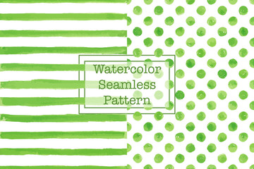 Set of two watercolor seamless patterns, green color. Stripes and polka dot pattern. Watercolor seamless pattern for any your design project eco, natural, organic them. Or for print on any item.