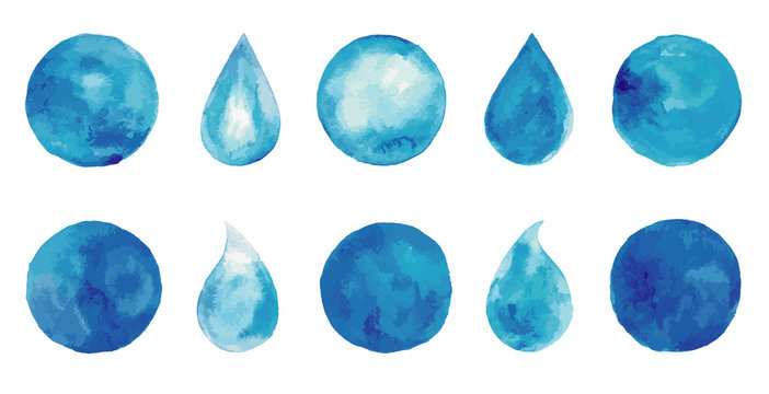 Set of watercolor blue splashes and drops. Blue watercolor spots. Indigo watercolor logo set. Hand drawn painting blobs. Texture emblem, sign label. Eco water