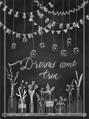 Set of hand drawn borders,garlands, jars, bottles with flowers. Chalkboard background.Lamps, lanterns,flags, jars, bottles on swing. Plants. Decoration vector brushstroke set.Used brushes included.