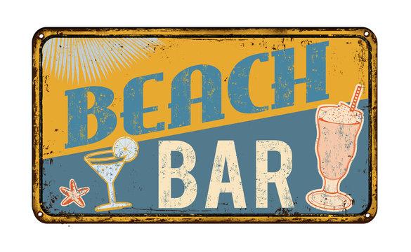 Beach bar rusty metal sign