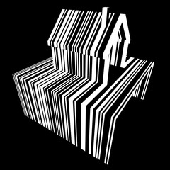 Barcode diagram in form of a detached house