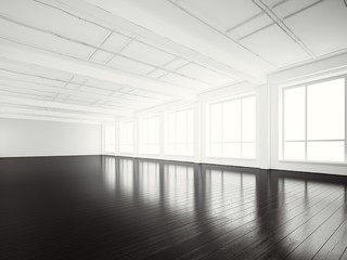 Photo of open space office modern building.Empty white interior loft style with black wood floor and panoramic windows.Abstract background. Ready for business info.Horizontal mockup.3d rendering