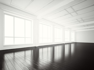 Image of open space office modern building.Empty interior loft style with wood floor and panoramic windows.Abstract background,blank walls. Ready for business info.Horizontal mockup.3d rendering