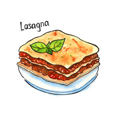 Lasagna. Italian Cuisine. isolated. watercolor