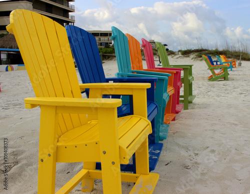 Colorful Adirondack Beach Chairs\