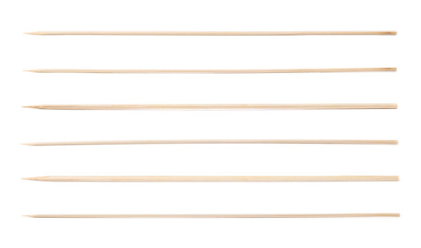 Single wooden skewer isolated