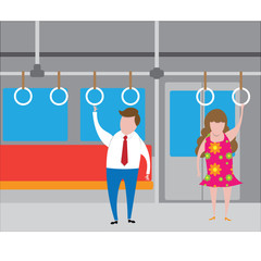 Transportation man and woman standing in subway