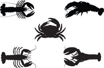 Silhouette Lobsters and crab