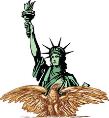 Eagle and Statue of Liberty Vector eagle and Statue of Liberty