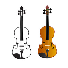 Violin on a white background, vector illustration