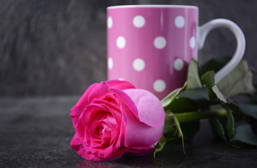 Mothers Day coffee cup with pink rose.