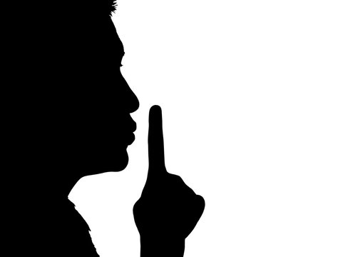 silhouette of a girl on quiet gesture