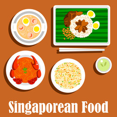 National dishes of singaporean cuisine flat icon