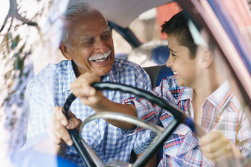 Old Man Grandpa Gives Driving Class To Grandson