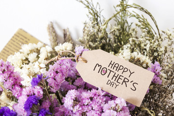 Bouquet of dried flowers with mothers day card