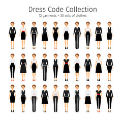 Business woman collection. Women dress code vector set