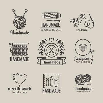 Handmade line vintage logo set. Handmade retro badges or handmade outline labels. Knitwear and sewing symbols. Vector illustration