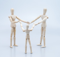 concept of family by man Wood Figure ,women Wood Figure and chil