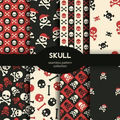 Vector seamless pattern skulls and crossbones background set