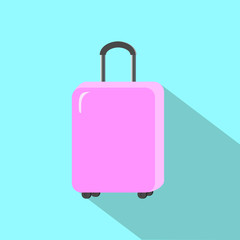 Pink luggage on turquoise blue flat illustration