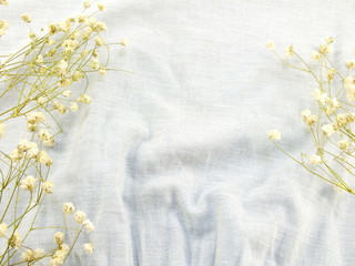 dry flowers on fabric background