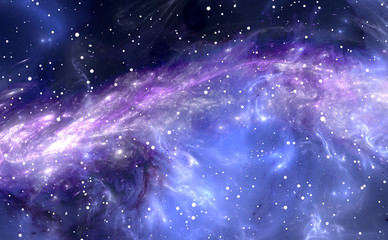 Gas-dust nebula, deep outer space background with stars