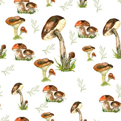 Pattern mushrooms. Watercolor drawing. Can be used for printing and design.