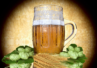 glass of beer with barley and hops - 3D ender