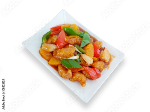"""chinese food sweet and sour with fruit salad asian menu ..."