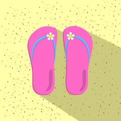 Flip flops on sand beach flat illustration