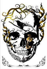 skulls and bird line thai
