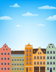 vertical background with retro houses over blue sky with clouds