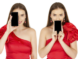 Pretty brunette showing smart phone on white background