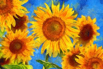 Sunflowers.Van Gogh style imitation. Digital painting.