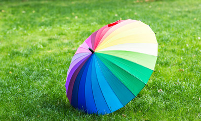 Colorful umbrella on a grass