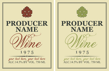 set of wine labels with a picture of grape leaf