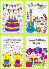 Birthday cards set. Vector illustration