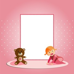 Baby girl card with teddy bear
