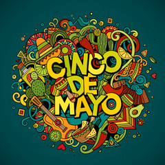 Cinco de Mayo. Cartoon vector hand drawn Doodle illustration