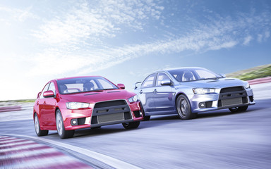 3D rendering of Racing sport cars concept