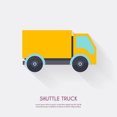 Shuttle truck. Warehouse icons logistic blank and transportation