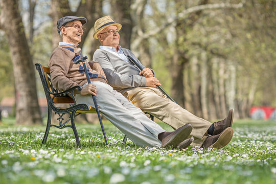 Two seniors sitting and relaxing in a park