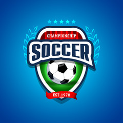 Soccer, football logo. Blue, red and green soccer football badge logo design template, sport logotype template. Soccer Themed T shirt. Football logo. Vector illustration.