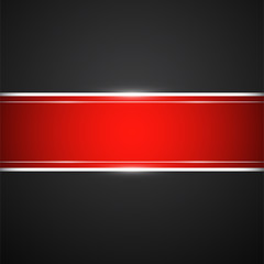 Black background with red banner